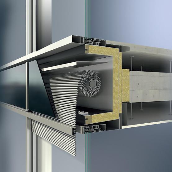 Встраиваемая в фасады Schüco FW 50+ и Schüco FW 60+ солнцезащита СТВ